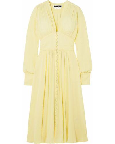 Żółta sukienka midi z wiskozy zapinane na guziki Rotate Birger Christensen