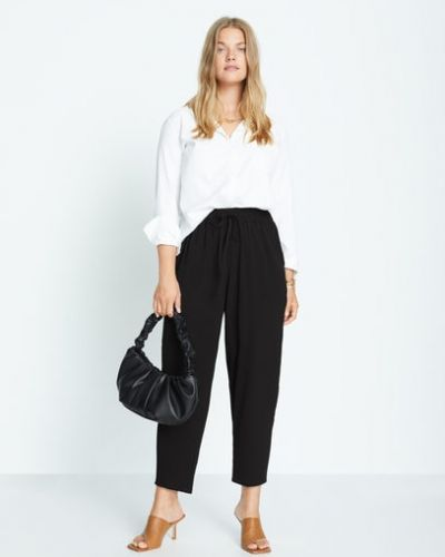 Прямые черные брюки с поясом Mango