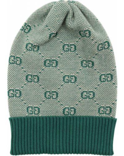 Prążkowany zielony kapelusz wełniany Gucci