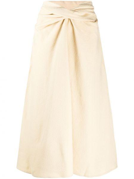 Beżowy wełniany trykotowy spódnica Lemaire
