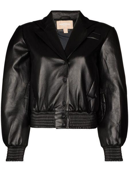 Стеганая черная стеганая куртка из натуральной кожи Matériel