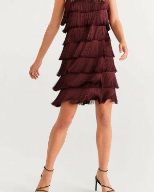 Платье мини с бахромой однотонное Mango