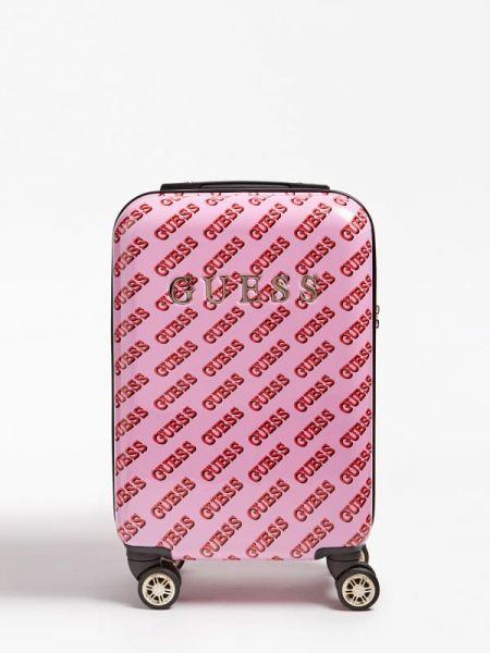Różowa walizka bawełniana z printem Guess