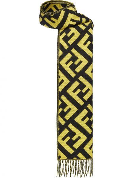 Черный кашемировый шарф с бахромой Fendi