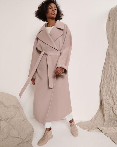 Прямое розовое шерстяное пальто 12storeez