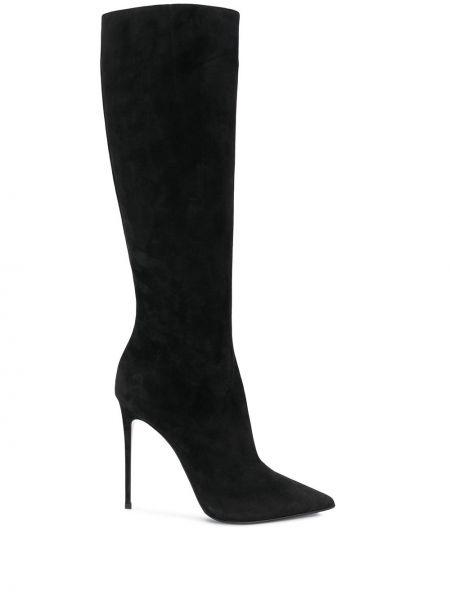Черные замшевые сапоги на шпильке на каблуке Le Silla