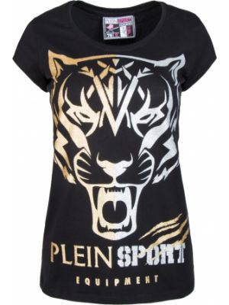 Футбольная прямая черная спортивная футболка с круглым вырезом Plein Sport