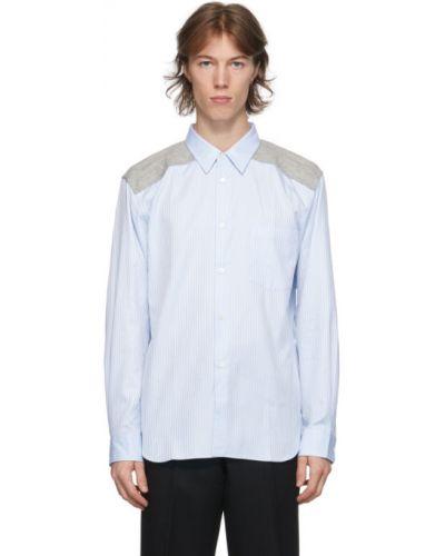 Niebieska koszula oxford bawełniana w paski Comme Des Garcons Homme Deux