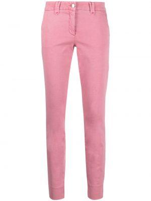 Хлопковые розовые брюки узкого кроя Luisa Cerano