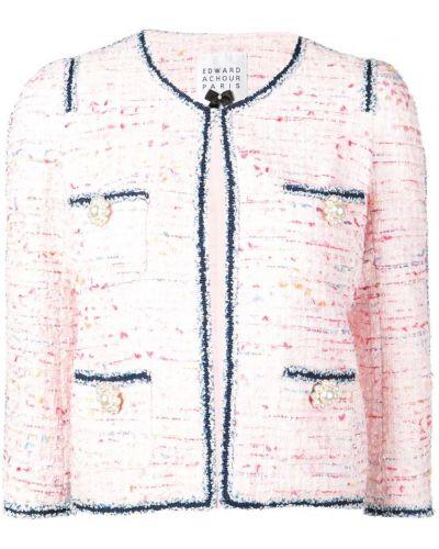 Розовый приталенный удлиненный пиджак Edward Achour Paris