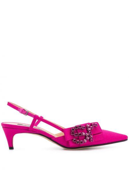 Różowy skórzany sandały na obcasie obcasy na pięcie z ostrym nosem Sergio Rossi