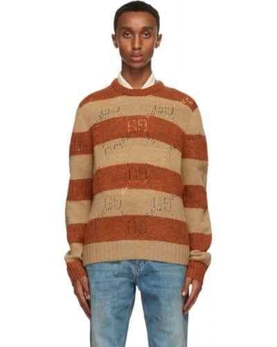 Открытый шерстяной длинный свитер в полоску Gucci