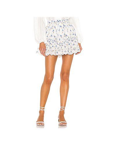 Хлопковая белая юбка мини на резинке Loveshackfancy