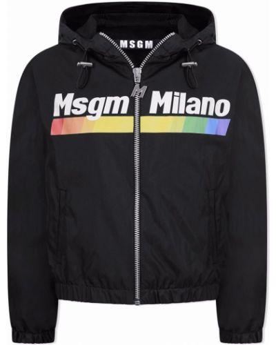 Czarna kurtka z printem Msgm Kids