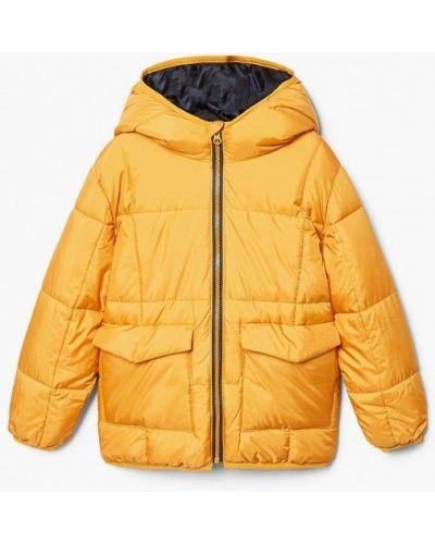 Желтая куртка теплая Mango Kids