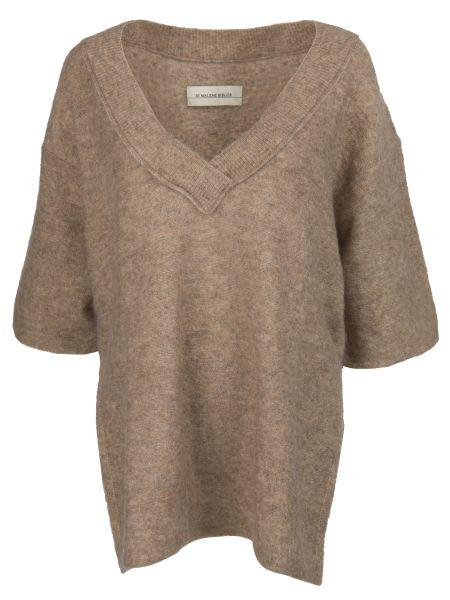 С рукавами коричневый свитер из мохера с V-образным вырезом By Malene Birger