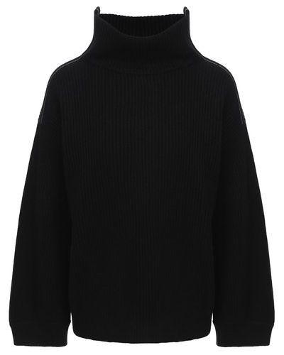 Кашемировый черный вязаный свитер Brunello Cucinelli