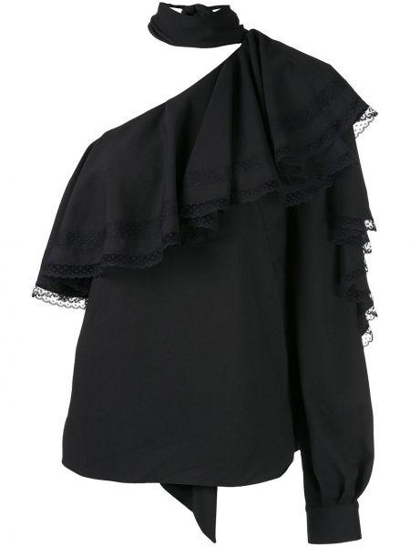 Ażurowy czarny wyposażone bluzka z mankietami Ingie Paris