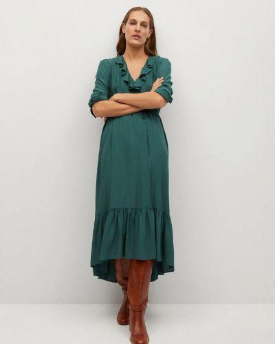 Прямое зеленое платье Mango
