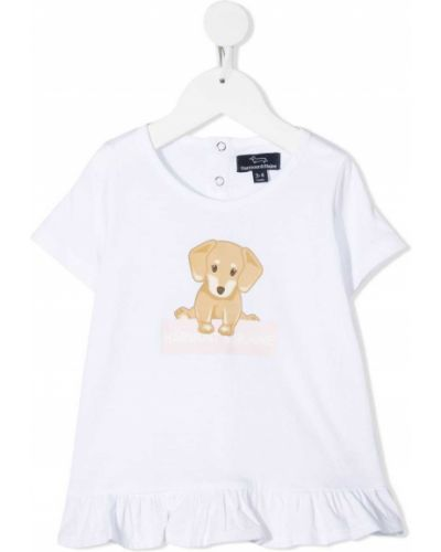 Ватная хлопковая белая футболка с короткими рукавами Harmont & Blaine Junior