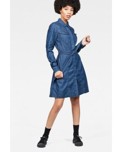 Платье мини с карманами однотонное G-star Raw