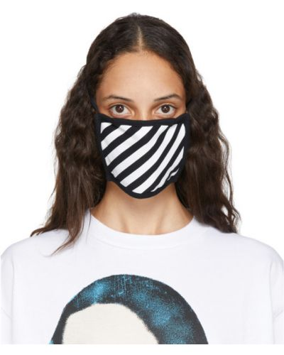 Bawełna czarny bawełna maska do twarzy na paskach Off-white