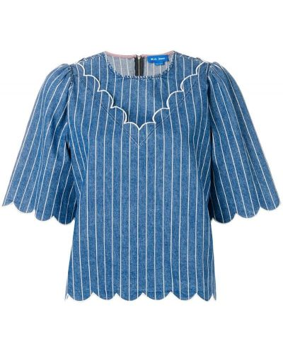 Блузка с короткими рукавами - синяя Mih Jeans