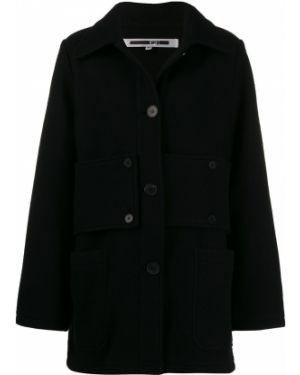 Шерстяное черное пальто классическое с воротником Mcq Alexander Mcqueen