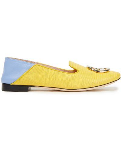 Żółte loafers skorzane na obcasie Emilio Pucci
