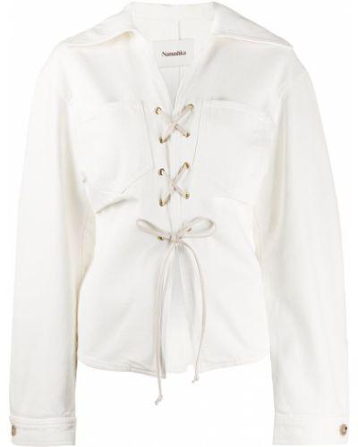 Белый удлиненный пиджак с воротником с вырезом Nanushka