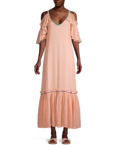 Хлопковое оранжевое купальное платье с короткими рукавами Pitusa