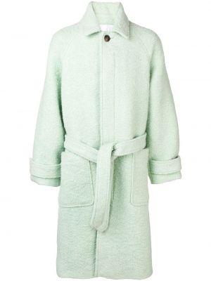 Пальто из альпаки - зеленое Ami Paris