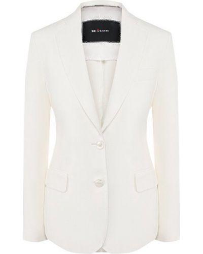Белый приталенный пиджак на пуговицах с лацканами Kiton