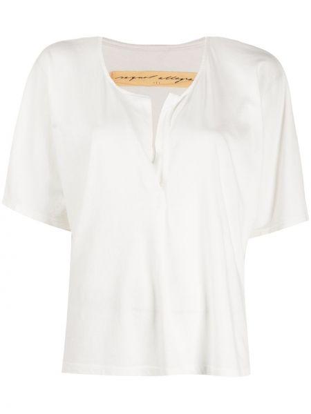 Белая прямая блузка с V-образным вырезом с короткими рукавами Raquel Allegra