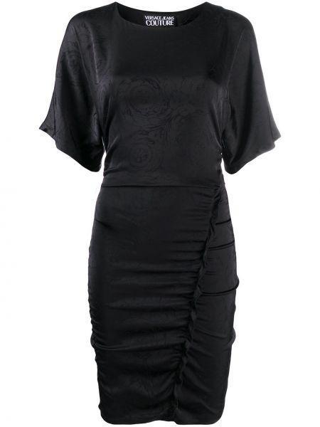 Черное приталенное платье мини с оборками с короткими рукавами Versace Jeans Couture