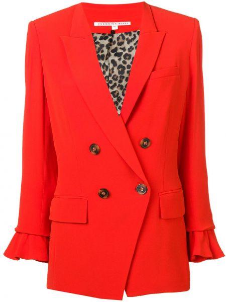 Классический пиджак с карманами из вискозы на пуговицах с лацканами Veronica Beard