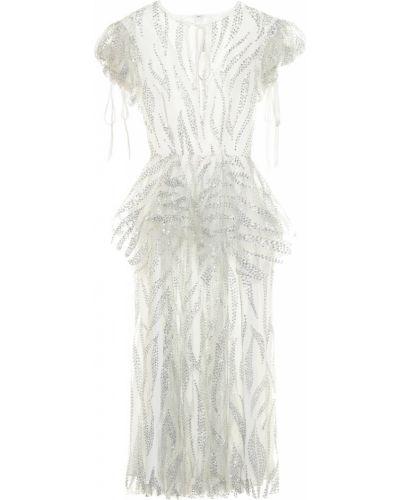 Белое нейлоновое платье миди Rodarte