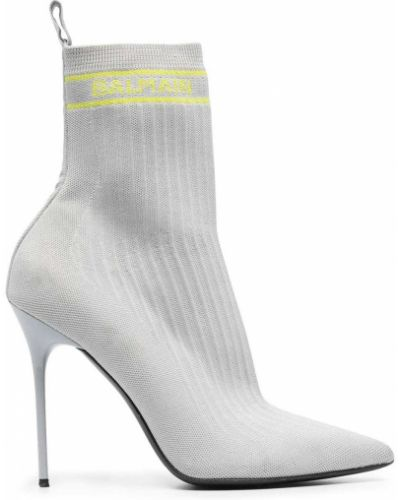 Кожаные носки на каблуке в рубчик Balmain