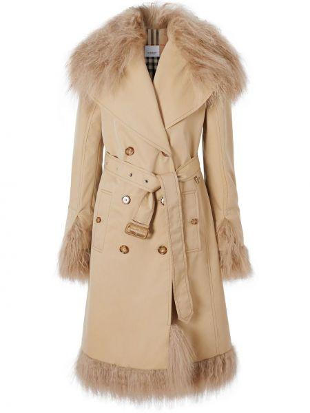 Кожаное пальто с воротником на пуговицах двубортное с карманами Burberry