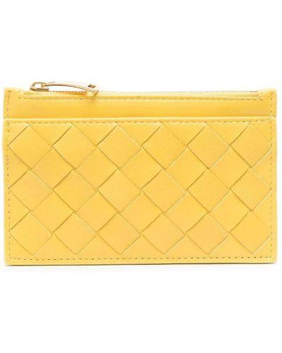 Желтая кожаная визитница на молнии Bottega Veneta