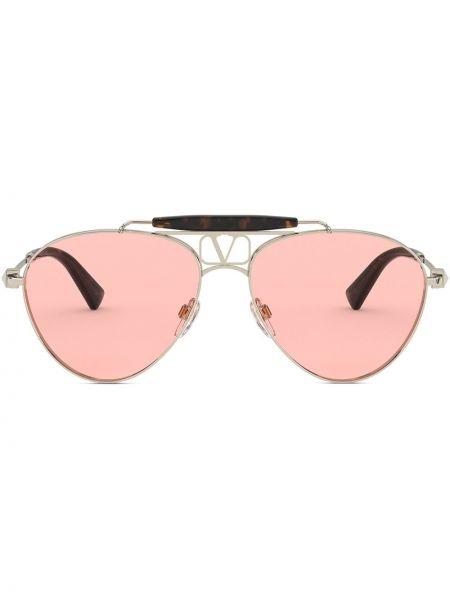 Золотистые розовые солнцезащитные очки металлические Valentino Eyewear