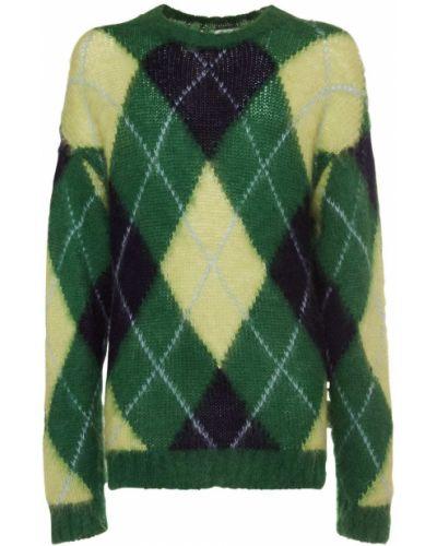 Prążkowany zielony sweter moherowy Kenzo