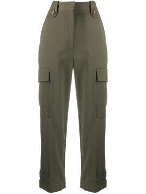 Зеленые брючные укороченные брюки с карманами с высокой посадкой Pt01