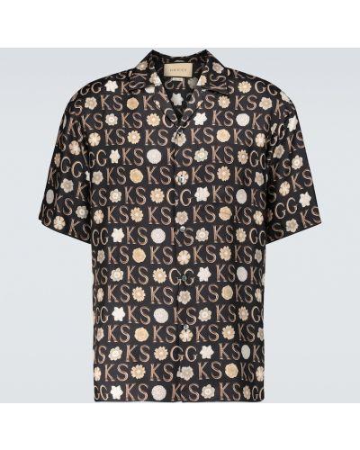Шелковая черная рубашка Gucci