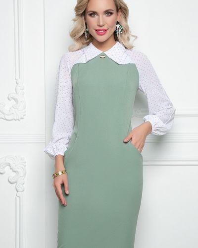 Повседневное с рукавами платье макси в горошек Bellovera