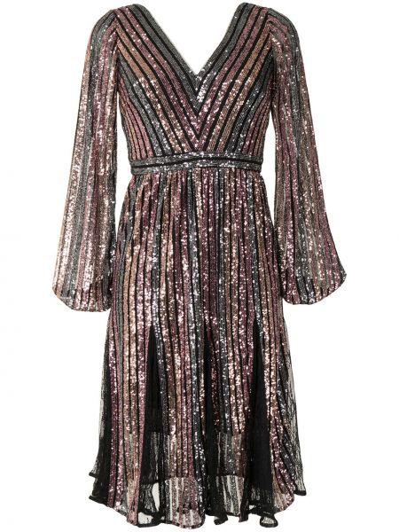 Черное платье макси с длинными рукавами с пайетками Marchesa Notte