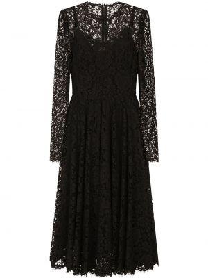 Кружевное с рукавами черное платье макси Dolce & Gabbana