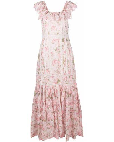 Różowa sukienka długa koronkowa w kwiaty Loveshackfancy