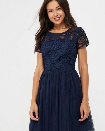 Коктейльное платье осеннее синее Yumi