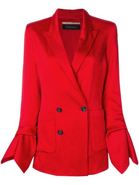 Шелковый красный пиджак двубортный Roland Mouret
